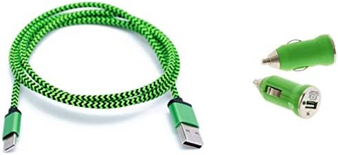 Cell-Stuff Green Braided Auto Car Charger Including Micro 3 FT Charging Cable and Cigarette Lighter Adapter Compatible w/Samsung Galaxy Halo and Similar USB Compatible Cell Phones