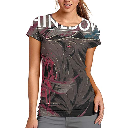 StephanDHampton Shinedown 3D Printed Music Womans Round Neck Short Sleeve Tees S ()