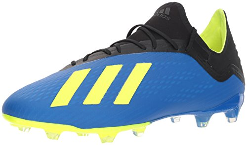 (adidas Men's X 18.2 Firm Ground Soccer Shoe, Football Blue/Solar Yellow/Black, 10 M US )