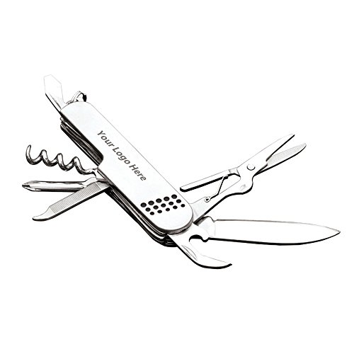(Stainless Steel Pocket Knife - 100 Quantity - $4.10 Each - PROMOTIONAL PRODUCT/BULK/BRANDED with YOUR LOGO/CUSTOMIZED)