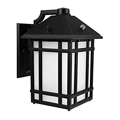 LEONLITE LED Outdoor Wall Lantern with Dusk to Dawn Photocell, 14W (60W Eqv.), Glass Lens, Energy Star & ETL Listed Exterior Wall Mount Lighting Fixture, 3000K Warm White, 1000lm, 5 Years Warranty - DUSK-TO-DAWN: High-sensitivity photo sensor, auto-on at dusk and auto-off at dawn, efficient and continuous lighting during the whole night PREMIUM MATERIAL: Long-lasting usage with die-cast aluminum housing & frame strip, erosion and rusting resistance, ETL listed thus superior quality and safe operation guaranteed, available for wet locations OUTSTANDING PERFORMANCE: Integrated high-efficiency LEDs without bulb replacement, 50,000hrs lifespan reduces re-lamping frequency, fabulous and stable performance for the time to come - patio, outdoor-lights, outdoor-decor - 41TFHaQKxlL. SS400  -