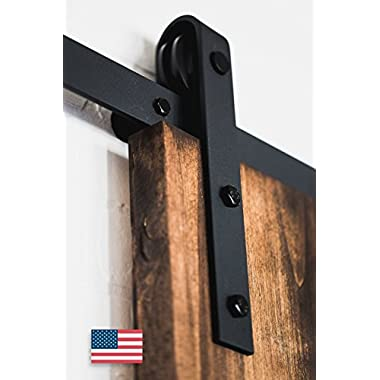 Artisan Hardware Classic Sliding Barn Door Hardware, 8-Feet, Black Powder Coat