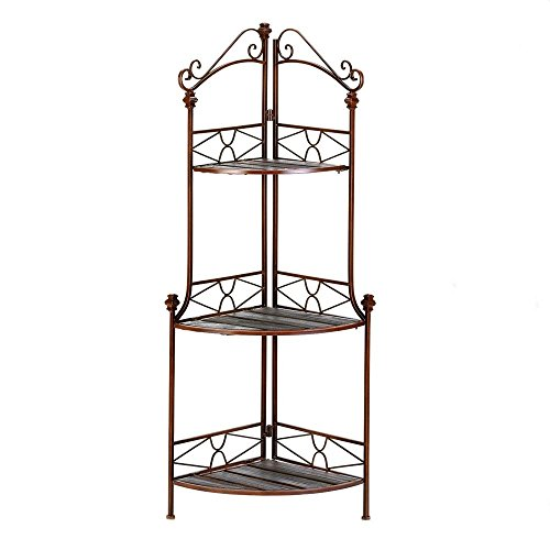 Accent Plus Metal Bakers Rack, Rustic Corner Kitchen Storage Shelf 3-tier Modern Bakers Rack by Accent Plus