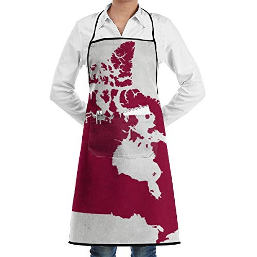 Canadian Oil and Natural Gas Canada Red Blank Aprons Kitchen Chef Bib - Professional for BBQ, Baking, Cooking for Men Women / 100% Polyester, Adjustable Pockets (Best Natural Gas Bbq Canada)