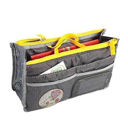 544b2ed87a96 Domire Gray Handbag Pouch Bag in Bag Organiser Insert Organizer Tidy Travel  Cosmetic Pocket Makeup Bag