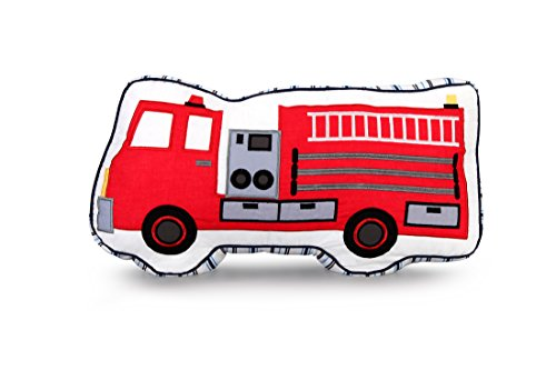 yiduyia Characteristic 100% Cotton Embroidery Fire Truck Pillows Kids Children Pillow, Ornaments for Children's Rooms and Car Cushions,children's Toy Throw