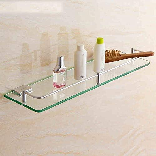 スペースアルミウェアガラスフレームバスルームバスルームハードウェアペンダントラック単層正方形バスルームシェルフ(サイズオプション)バスルームシェルフガラス(サイズ:40cm)