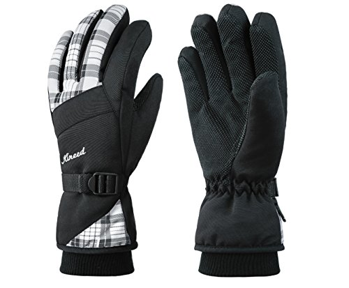 KINEED Waterproof Women Winter Ski Snowboard Snow Thinsulate Insulated Warm Gloves White