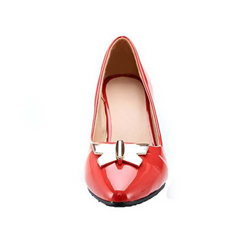AllhqFashion Womens Closed-Toe Kitten-Heels Patent Leather Pull-On Pumps-Shoes Red Gw6iT9oz