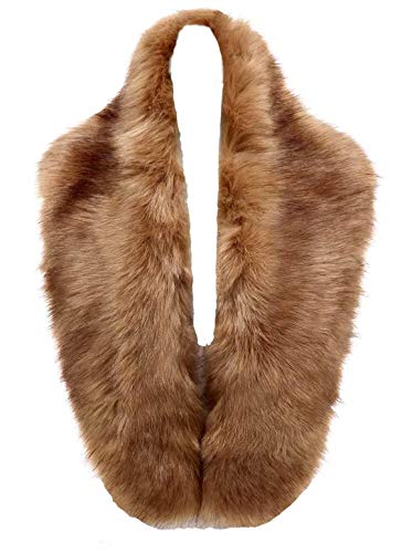 Changuan Extra Large Women's Faux Fur Collar Shawl Wraps Stole Cloak Evening Cape for Winter Coat Camel 105cm