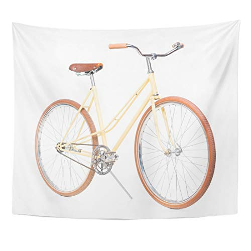 Semtomn Tapestry Bars Bike Brown Bicycle White Handle Hand Hipster Racing Home Decor Wall Hanging for Living Room Bedroom Dorm 60x80 Inches