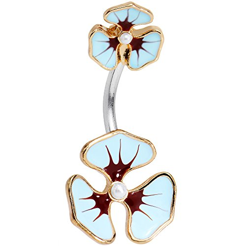 (Body Candy Stainless Steel Blue and Purple Hibiscus Flower Double Mount Belly Ring)