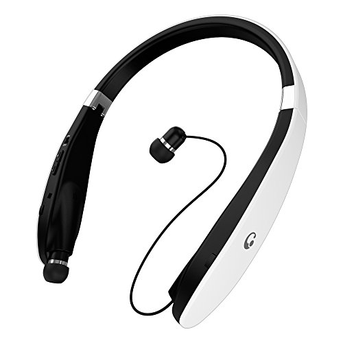Bluetooth Headset, Wireless Pandawill 4.1 Bluetooth Headphones Retractable/Foldable Style Headset with Mic for iPhone Android Other Bluetooth Enabled Devices (White)