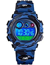PASNEW Kids Watch, Multi-Function Waterproof Sport Camouflage Watch Colorful LED Backlight Personality Electronic Watches,Suitable for Children Aged 7 or over-1547Navy