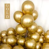 Chrome Gold Balloons 12inch 50pcs Latex Balloons Metallic Party Balloons Birthday Helium Balloons: more info