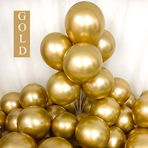 Chrome Gold Balloons 12inch 50 Pcs Latex Metallic Party Balloons Helium Balloons Party Decoration Balloons Compatible Birthday Baby Shower Party - Chrome Gold by Brontothere