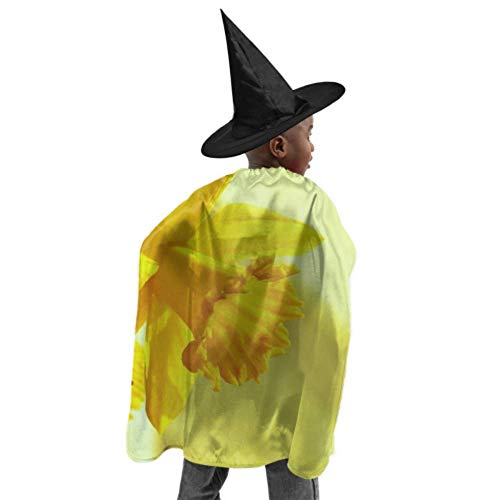 Daffodils Osterglocken Yellow Blossom Bloom Spring Costume Hooded Cloak Cloak Cape Men Witch Cloak and Hat Dress Up for Halloween Birthday Party