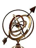Antique Nautical Brass Armillary Sphere World Globe Brown Metal Base Office Decorative