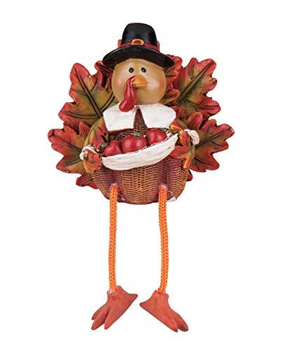 (Transpac Imports D0639 Resin Turkey Pilgrim Shelf Sitter Figurine, Brown)