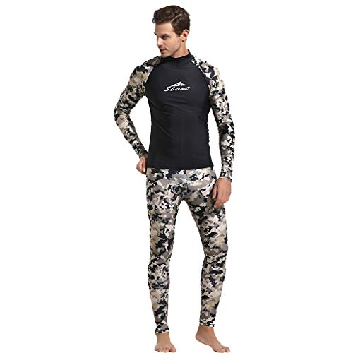 e9cf0f44df9 CofeeMO Fashion Camouflage 2 Piece Diving Swimsuit for Men,Long Sleeve Rash  Guard Tops & UV Protection Pants Surf Wear(Camouflage,M)