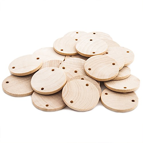Round 1-1/2 inch Real Wooden Board Tags – Circular Wooden Tags For Birthday Boards, Chore Boards or other Special Dates - Bag of 100