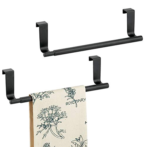 mDesign Adjustable, Expandable Kitchen Over Cabinet Towel Bar Rack - Hang on Inside or Outside of Doors, Storage for Hand, Dish, Tea Towels - 9.25 to 17 Wide, 2 Pack, Matte Black