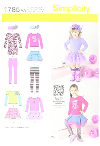 Simplicity 1785 Toddlers Skirt and Knit Dress, Top and Leggings Sizes 1/2-1-2-3
