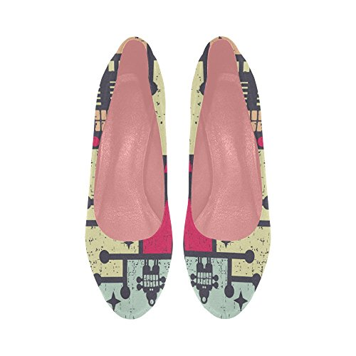 Womens Flowers Pumps Size InterestPrint Colorful Wedge 11 5 Pattern Butterfly on Color5 high Shoes prin Heel 8wAqd
