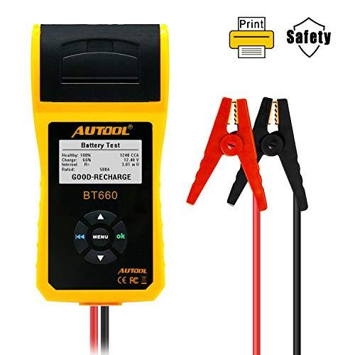 AUTOOL BT660 BT660 BT660 12V/24V Load Tester Analyzer Regular Flooded CCA 100-3000 Auto Battery Direct Health Checker with Data Printer, Cranking Charging System Test ()