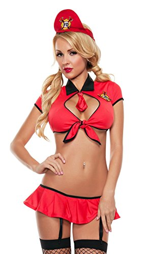 Starline Women's Sexy Firefighter Tie Top Roleplay Bedroom Costume, Red, Small/Medium]()