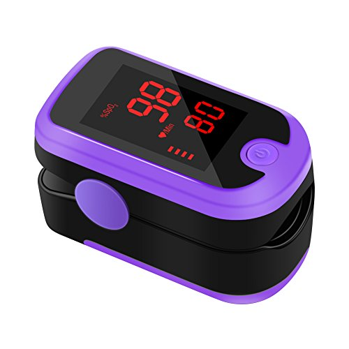 Fingertip Pulse Oximeter, Meerveil FS10E Oximetry Blood Oxygen Saturation Monitor SpO2 Finger Pulse Oximeter Readings with Carrying Case Batteries and Lanyard (Mysterious Purple) by Meerveil
