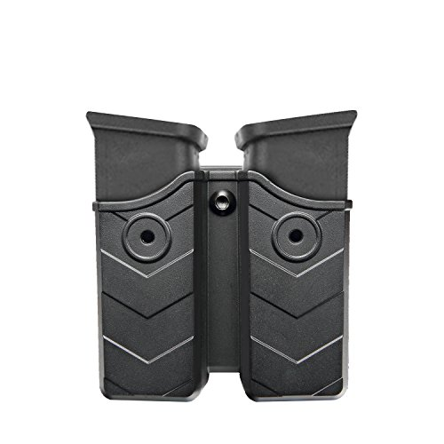 Pro Series Double Retention Holster - efluky Double Magazine Pouch - Magazine Holster, Double Stack Magazine Holder with Belt Clip for Glock/H&K/Smith & Wesson/Ruger/Sig Sauer/Springfield/Taurus/Beretta/CZ/Walther, More, Fits 9mm/.40 cal