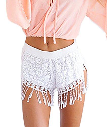 Shorts Damen Weiß Spitze Quaste Eng Uni-Farben Elegant Sommer Strand Hot Pants