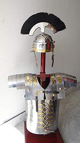 (Helmet Medieval Roman Armory Collectible Lorica Segmentata Armor Breastplate Silver)