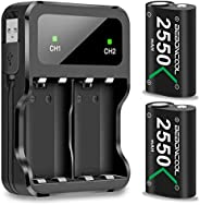 Controller Battery Pack for Xbox One/Xbox Series X|S, BEBONCOOL 2x2550 mAh Rechargeable Battery Pack for Xbox