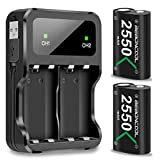 Xbox One Battery Pack 2x2550mAh Rechargeable Battery for Xbox One/Xbox One S/Xbox One X/Xbox One Elite Wireless Controller (battery&charger set, Green)