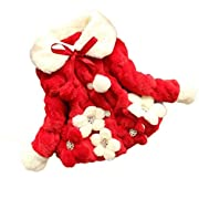 Pulison(TM)Newborn Baby Infant Girls Fur Winter Warm Jacket Coat Cotton Thick Plush Warm Snowsuit Clothing (0-6month, Red)