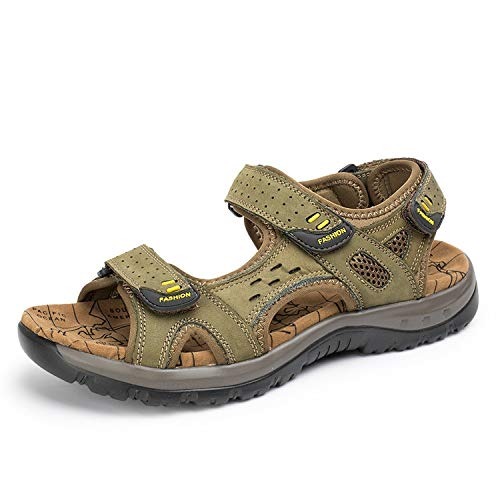 2019 Men Sandals Summer Genuine Leather Outdoor Shoes Men Leather Sandals Plus Size 38-45,Army Green,45