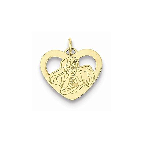 (Jewelry Best Seller Gold-plated SS Disney Ariel Heart Charm)
