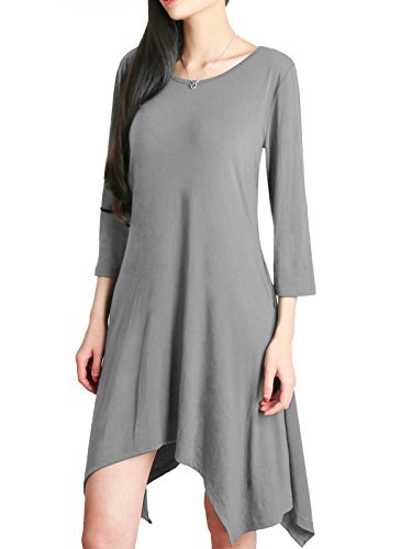 sses For Women, Crew Neck Oversize Pullover Sweatshirt 3 4 Sleeve Elegant Handkerchief Hem Outerwear With Pockets on Both Side Lightweight Rayon Soft Spandex XXL Light Grey (Wear Jumper Dresses)