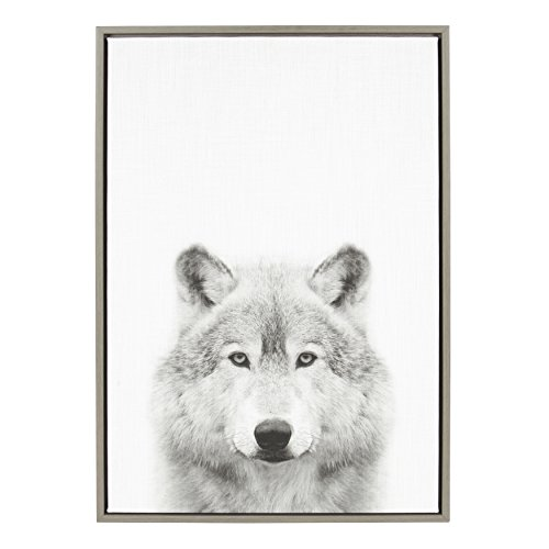 Kate and Laurel Sylvie Wolf Animal Print Black and White Portrait Framed Canvas Wall Art by Simon Te Tai, 23x33 Gray