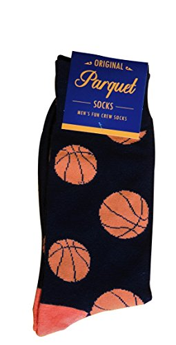 Parquet  Mens Fun Crew Socks, Sock Size 1013  Shoe Size 612.5, Great HolidayBirthday Gift, Large , Basketball Black  ()