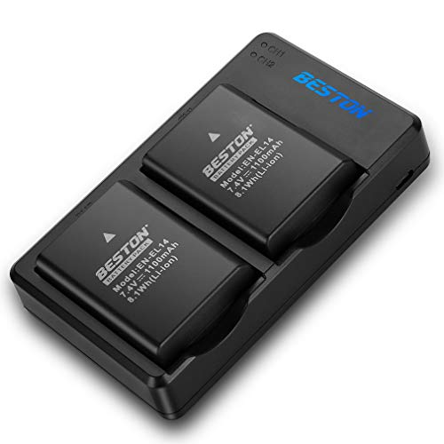 BESTON 2-Pack EN-EL14 EN-EL14a Battery Pack and USB Dual Charger Kit for Nikon D3200 D3400 D3300 D3100 D5100 D5200 D5300 D5600 Camera