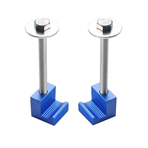 DEWHEL Tool Box Tie Downs Aluminum J Clamps Crossover Toolbox Pickup Pair Universal Fit (2 PCS, Blue)