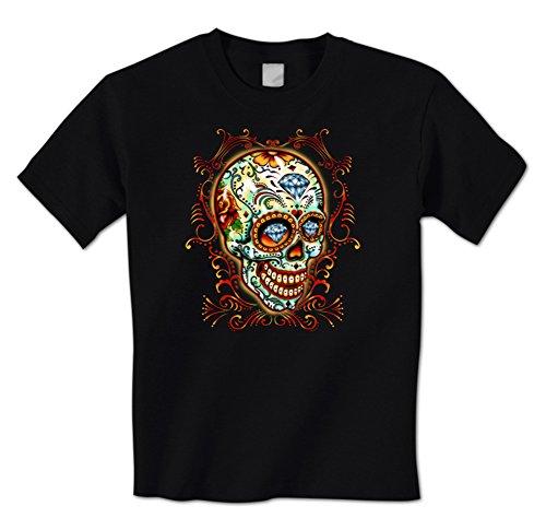 Day Of The Dead Sugar Skull Diamond Tattoo Dia De Los Muertos Mens T-Shirt Small Black