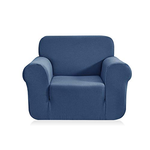 (CHUN YI 1-Piece Jacquard High Stretch Amrchair Arm Chair Slipcover, Polyester and Spandex 1 Seater Cushion Couch Cover Coat Slipcover, Furniture Protector Cover for Sofa and Couch (Chair, Denim Blue))