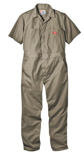 Dickies Men's Short Sleeve Coverall, Khaki, X-Large Regular -