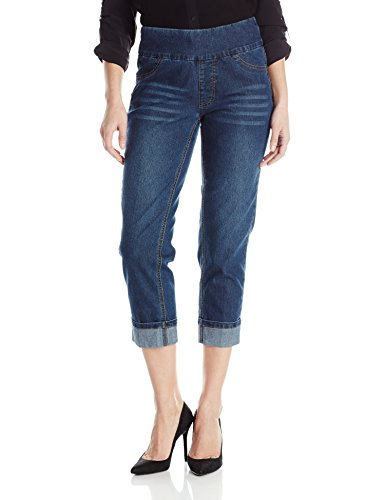 SLIM-SATION Women's Wide Band Pull-on Boyfriend Cuffed Denim Crop, Dark Indigo, 6