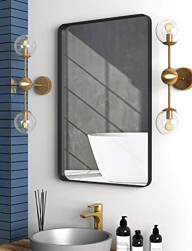 NXHOME Rectangle Metal Wall Mirror for Bathroom Wall Mounted Vanity Mirror Rounded Corner Black Frame Decorative Mirrors for Living Room Bedroom 24 x 36 Inch
