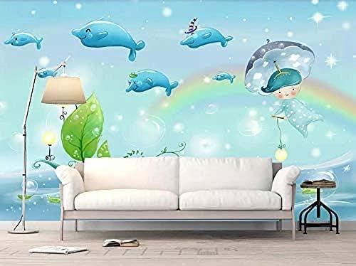 Amaomn Murals Wallpaper 3d Effect Dolphin Aesthetic Cartoon Tv